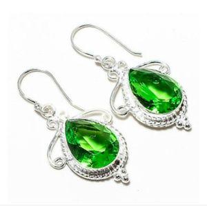 Silver Peridot dangle earrings